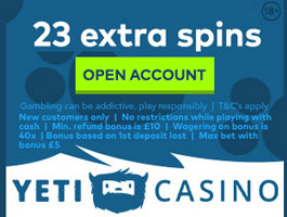 yeti casino NO DEPOSIT SPINS SEPTEMBER 2018