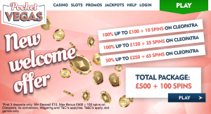 Pocket Vegas Casino Welcome offer