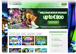 website pocket casino eu